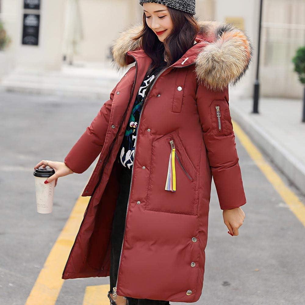 FNKDOR Women Ladies Winter Warm Quilted Padded Puffer Bubble Fur Collar Coat Hooded Slim Long Parka Jacket Overcoat