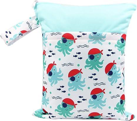 Bolsa de pañales de tela portátil reutilizable a prueba de agua Mochila con bolsillo con cremallera Bolsa de viaje Organizador de bolsa de viaje para bebés (multicolor) ESjasnyfall: Amazon.es: Bebé