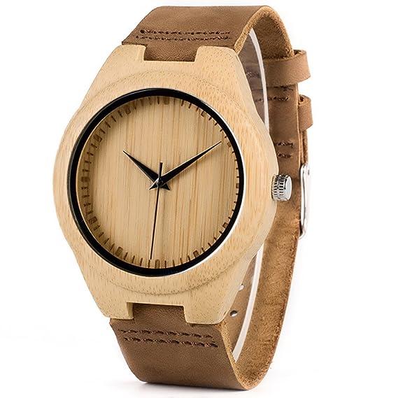 Bobo Bird Mujer Madera Reloj con Pulsera de Piel marrón: Amazon.es: Relojes