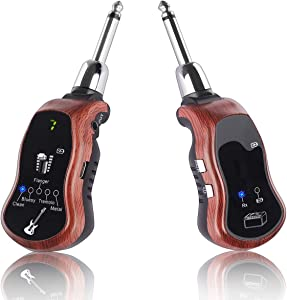 Kithouse K380C Wireless Guitar Transmitter Receiver System Set - Electric Guitar Wireless System Transmitter And Receiver With Clean Bluesy Flanger Tremolo Metal 5 Effects