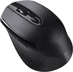 Multifunctional Wireless Mouse, Cimetech 2.4G Cordless Mouse for Laptop with USB Receiver Comfortable Click Computer Mice, 6 Buttons Optical Mouse (Black)