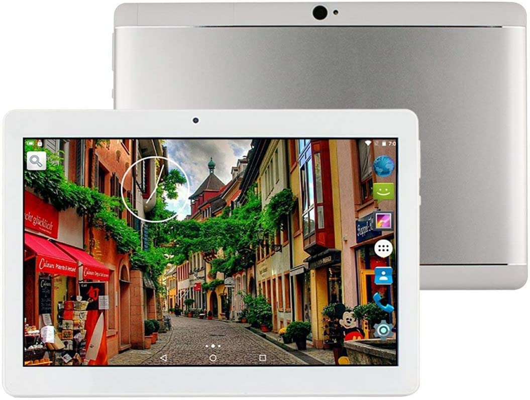 Tablet de 10 Pulgadas Android 8.1 Octa Core 4GB de RAM 64GB ROM Tablet PC WiFi incorporada Bluetooth y cámara GPS Dos Ranuras para Tarjetas SIM Desbloqueadas Llamada telefónica 3G Phablet (Plata)