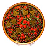 Khokhloma Wooden Decorative Plate, 16-Inch Hand-Painted