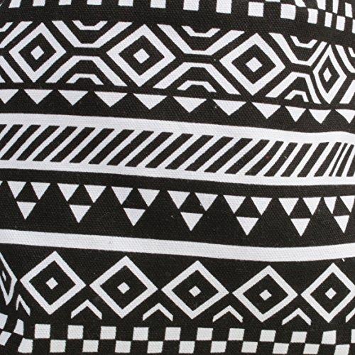 Cordón de grosor algodón mochila con estilo azteca impresión negro y blanco
