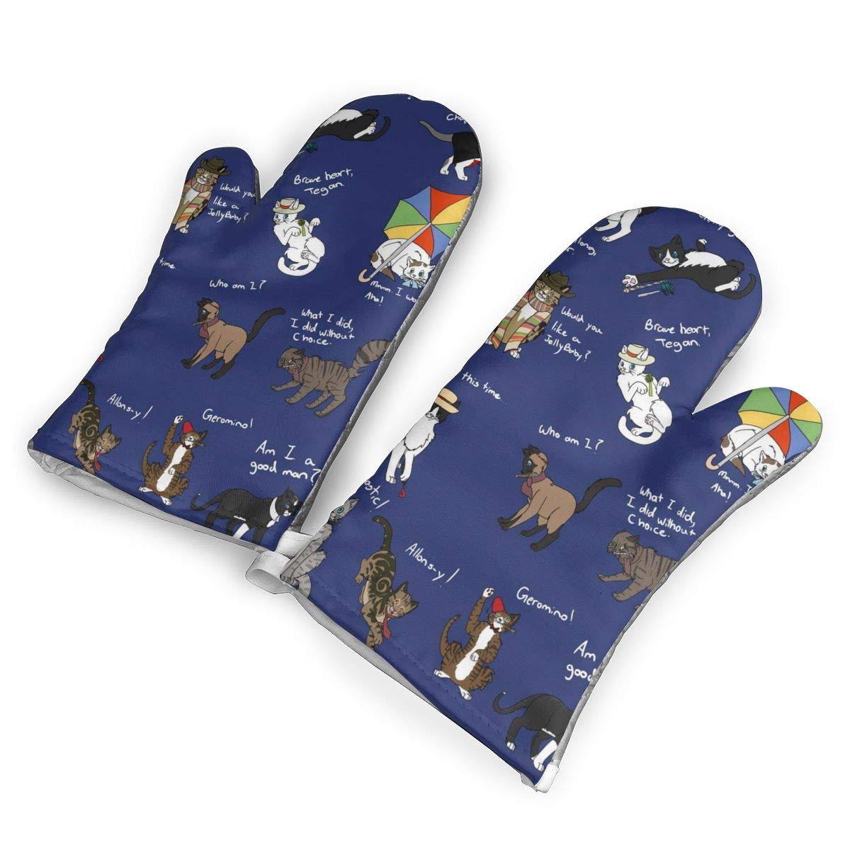 Oven Mitts 5.5 X 12 In Doctor Who Cats Non-Slip Kitchen Oven Gloves Heat Resistant Washable Cotton Lining