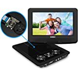 "Portable DVD Player, SYNAGY 9"" Personal DVD Player for Car with Swivel Screen, Rechargeable Battery, SD Card Slot and USB Port (Black)"