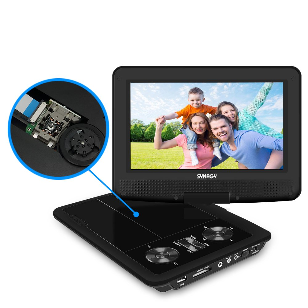 SYNAGY 9'' Portable DVD Player CD Player with Car Headrest Holder, Swivel Screen Remote Control Rechargeable Battery Car Charger Wall Charger, Personal DVD Player (Black)