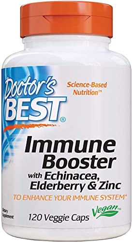 Doctor s Best Immune Booster with Echinacea, Elderberry Zinc for Immune System Support, 120 Count