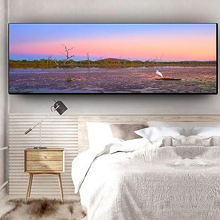 NIMCG Pink Sky Coast Ocean Beach Paisaje Panorama Lienzo ...