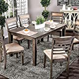 dining room sets cheap William's Home Furnishing CM3607T-7PK Talyah Dining Table Set, Weathered Gray/Beige