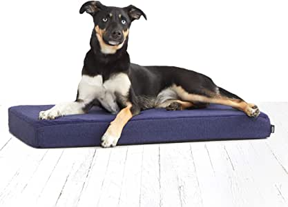 BarkBox Memory Foam Dog Bed | Plush Orthopedic Joint Relief Mattress Machine Washable + Removable Cover; Waterproof Lining, Includes Squeaker Toy | Medium | Blue