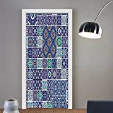 Gzhihine custom made 3d door stickers Ethnic Traditional Mosaic Azulejo Portuguese Cultural Ceramic Tiles Folk Design Teal Indigo Navy Blue For Room Decor 30x79