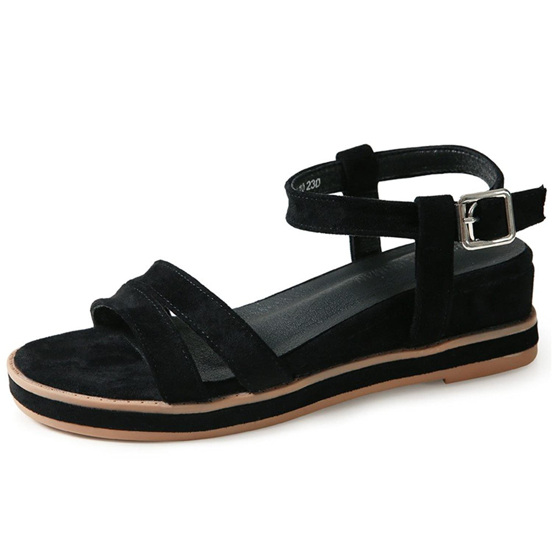 33bcd00e Huahua Sandalias Planas Mujer Salvaje De Verano Versión Coreana De La Retro  Pendientes con Zapatos De
