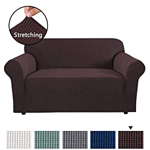 H.VERSAILTEX High Stretch 1 Piece Jacquard Lycra Loveseat Sofa Cover/Slipcover Soft Spandex Form Fit Slip Resistant Stylish Furniture Protector Coach Covers Machine Washable, Sofa 2 Seater, Chocolate