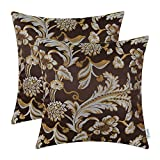 CaliTime Pack of 2 Throw Pillow Covers Cases for Couch Sofa Home Decor Vintage Floral Leaves 20 X 20 Inches Coffee Review