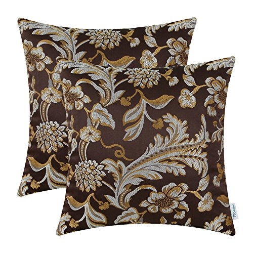 Pack of 2, CaliTime Cushion Covers Throw Pillow Cases Shells Both Sides, Vintage Floral, 18 X 18 Inches, Coffee