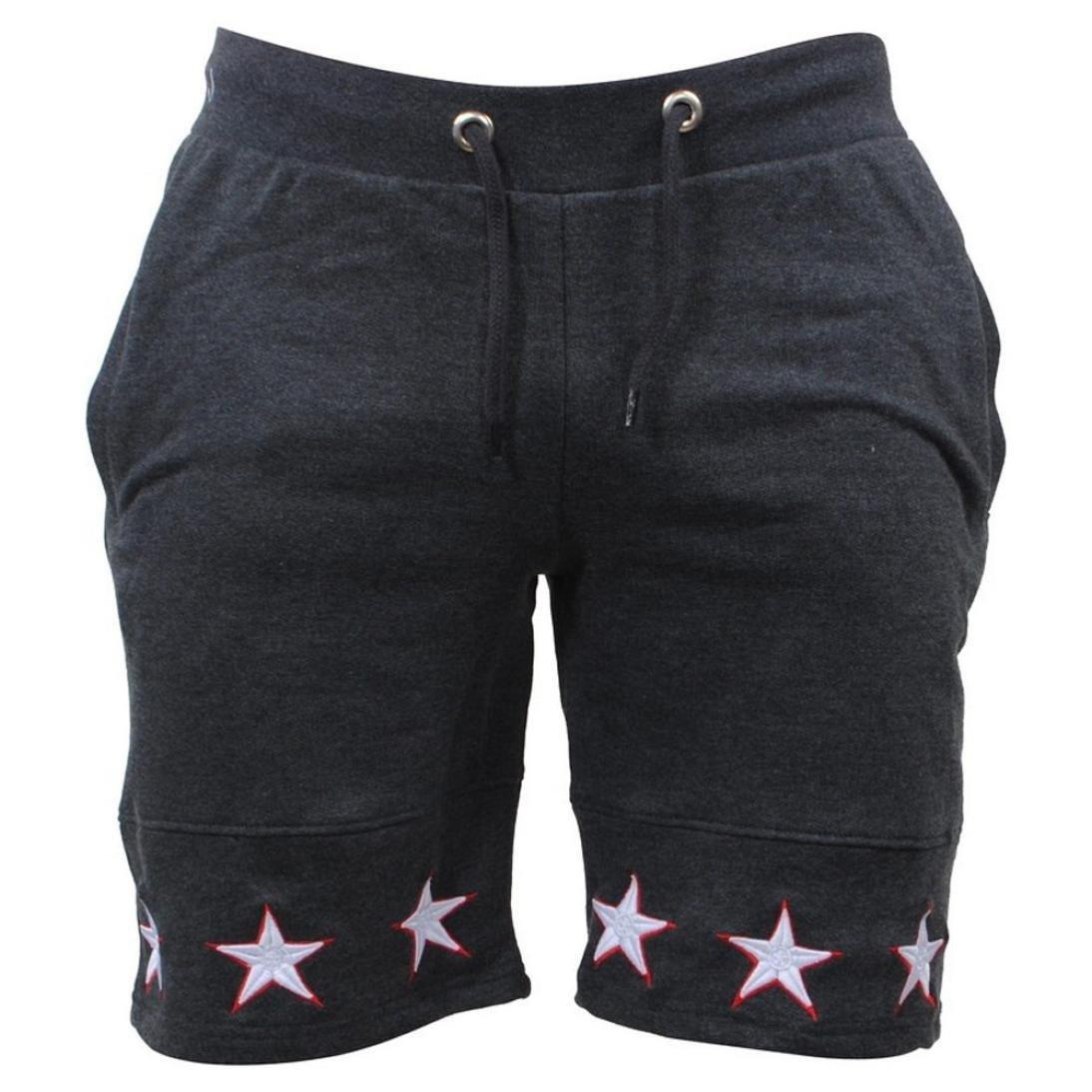 AMSKY❤Men's Shorts, Men Star Casual Pocket Beach Soft Cotton Elastic Workout Jogger Gym Active Sports Work Shorts (L, Dark Gray)