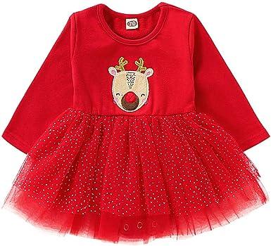 BBSMLIN Disfraz Navidad Bebe Niña Estampado de Ciervo Tul Vestido ...