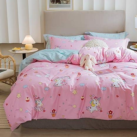 LAYENJOY Unicorn Duvet Cover Set Twin 100/% Cotton Bedding Cartoon Unicorn Pony Rainbow Cloud Castle Pattern on Pink Red 1 Cute Comforter Cover 2 Pillowcases for Kids Teens Girls