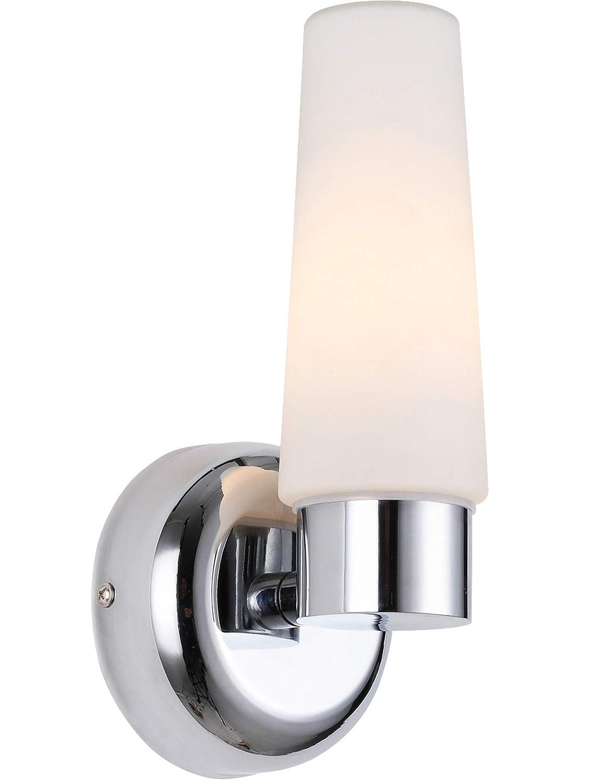 BETLING Appliques Murales Intérieur Luminaire Mural IP44 Lampe de Salle de Bain, Applique Murale Lampe à Miroir,Chrome avec Verre Opale
