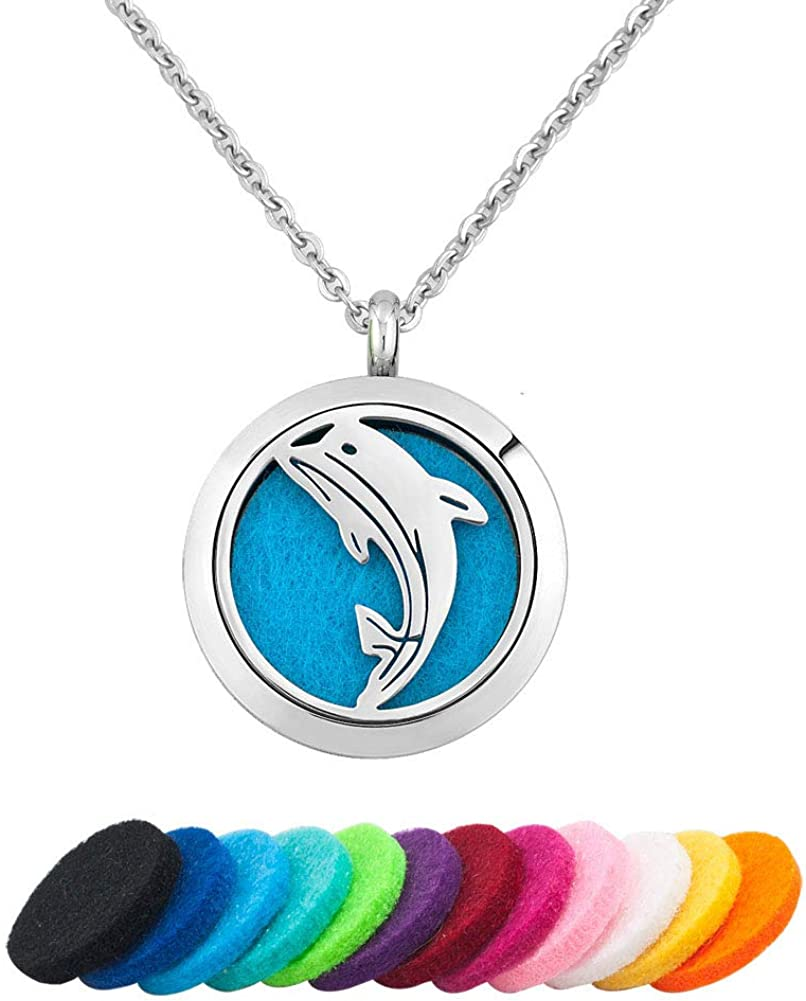 K1218 Dolphins Animal Diffuser Beads Cage Locket Charm Pendant 5X