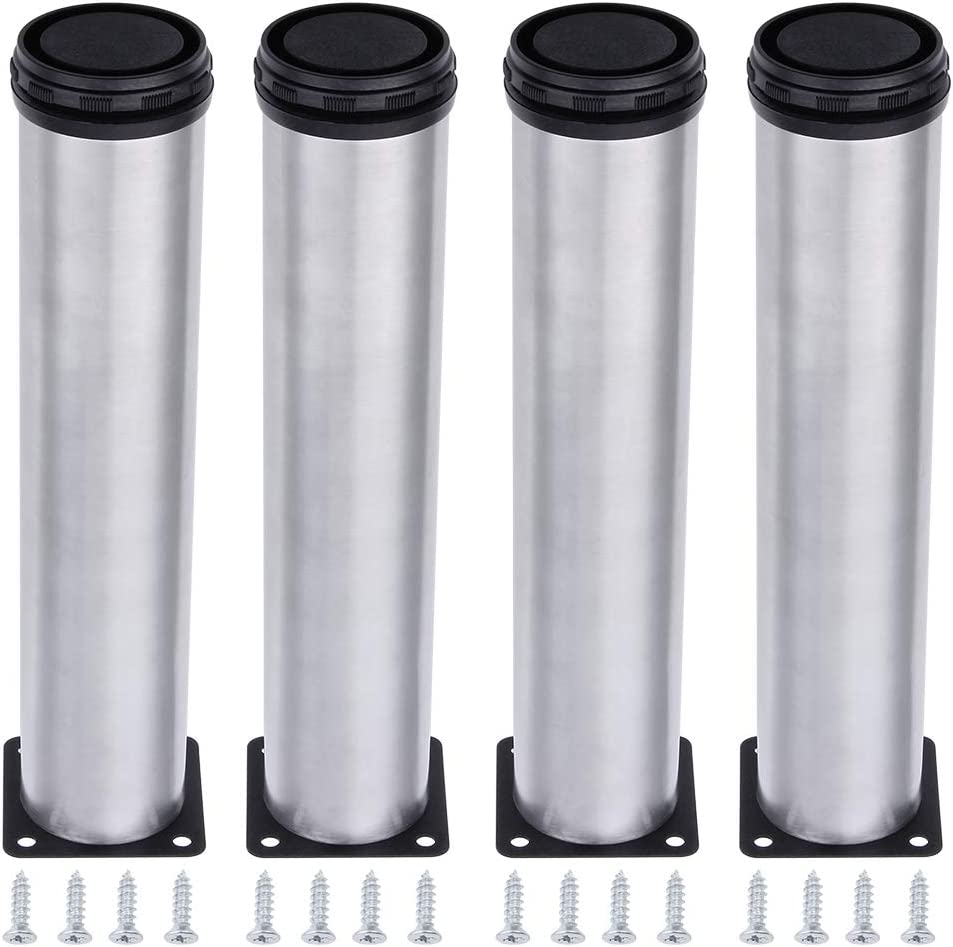 AOWISH 4-Pack Stainless Steel Furniture Legs Furniture Foot Upgraded & Thickened Cabinet Metal Legs 2 Inch Diameter Shelves Sofa Table Kitchen Adjustable Feet with 16 Screws (8 Inch/200 mm Height)