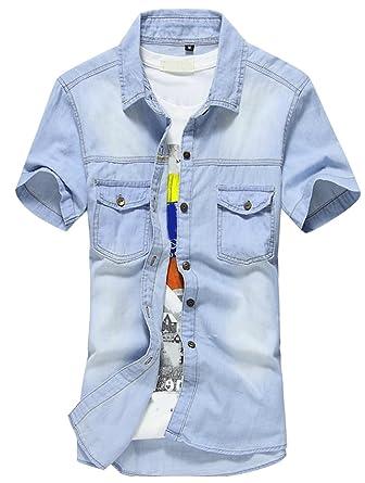 f555fa1681da0 Bevalsa Chemise Homme Denim Manches Courtes en Coton Slim Fit sans  Repassage Respirant Été Tee-