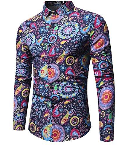 Tootless-Men Regular Non Iron Fashion colorful Double Placket Dress Shirt Navy Blue XL ()