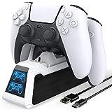 Base TwiHill para recarga do controlador PS5, controladores duplos atualizados compatíveis com carregador do controlador PS5,