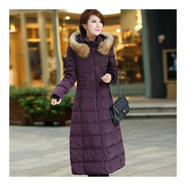 Women Plus Size Down Jacket Erwachsene Frauen Damen Große Größe Mittle Lange Steppjacke Daunenjacke Dicke Verdickende Warme Schlanke Winter Jacke Pelzkragen violett