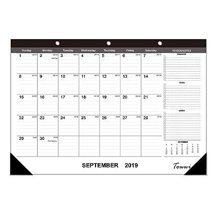 September 2020 Calendar Fancy Amazon.: TOWWI 2019 2020 Year Monthly Desk Pad Calendar, 16.8