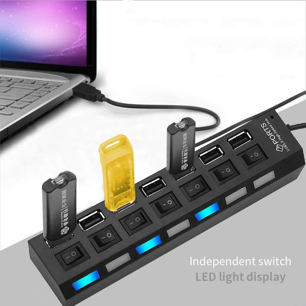 LOBKIN 7 in 1 USB Hub, USB Potrs and Charging Ports with Individual On/Off Switches and LED Lights for PC, USB Flash Drives, Mouse and More (Black)