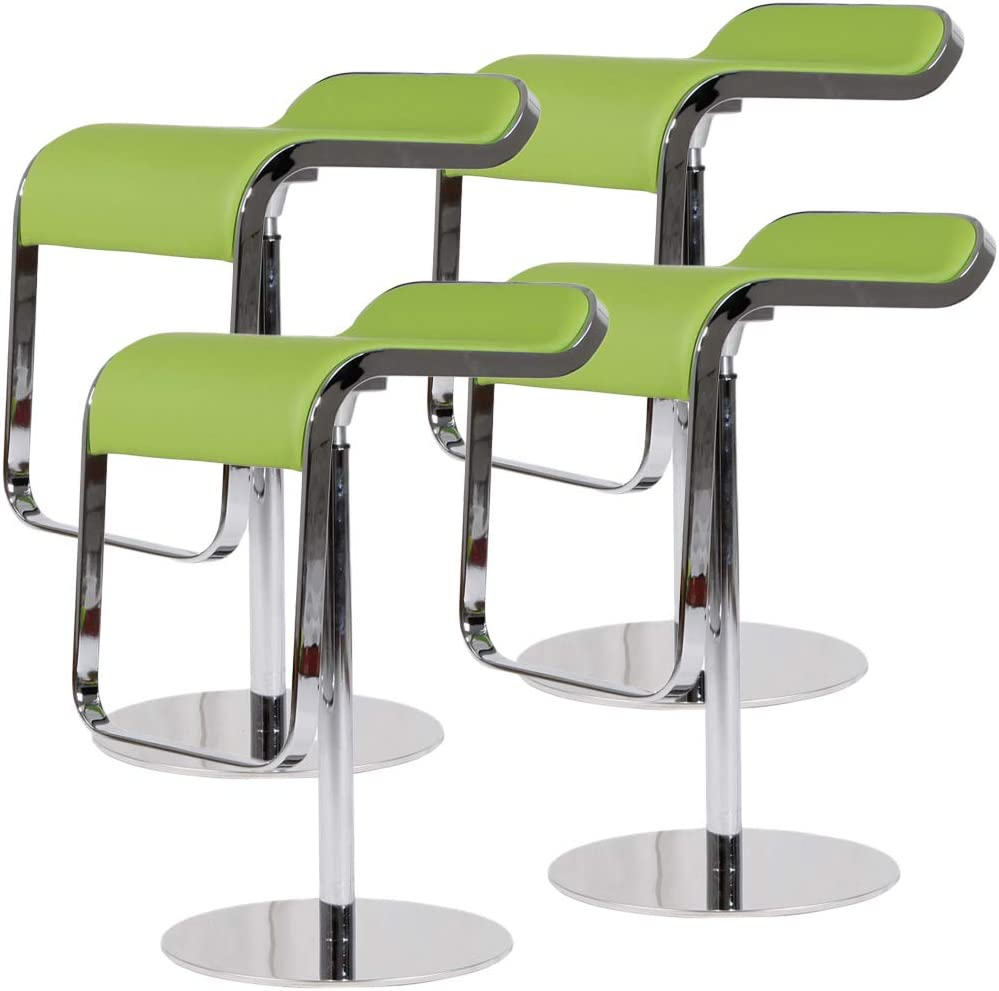 Emorden Furniture LEM Style Piston Bar Stool. Adjustable 27.2 -33.1 Smooth Hydraulic Piston. 360 Swivel Spin Smooth, Green Italian Leather Seat. Sturdy Polished Chrome Steel Frame. 4 Set