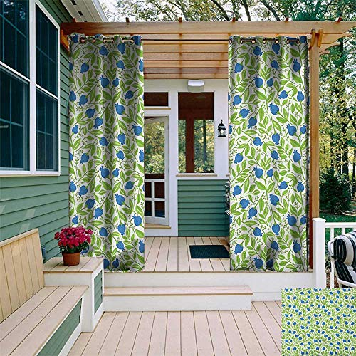 Blueberry Curtain - leinuoyi Fruits, Outdoor Curtain Modern, Flowering Blueberry Blossoms Vivid Leaf Branches Nature Plants Design, Outdoor Curtain Fabric by The Yard W72 x L108 Inch Violet Blue Lime Green
