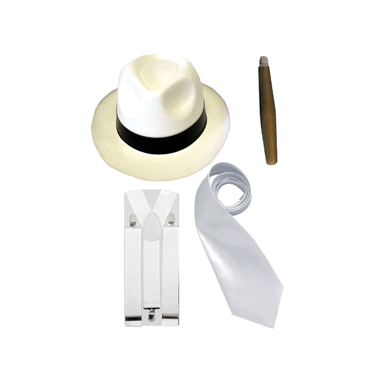 Fliege I Weiß Hosenträger 20er Jahre Gangster Kostüm Set für Herren I Hut