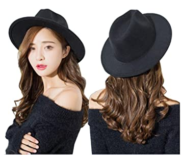 49917d194b858 Black Wide Brim Wool Fedora Flat Hat Church Cap for Women Man Spring Autumn  Winter Outdoor  Amazon.ca  Sports   Outdoors