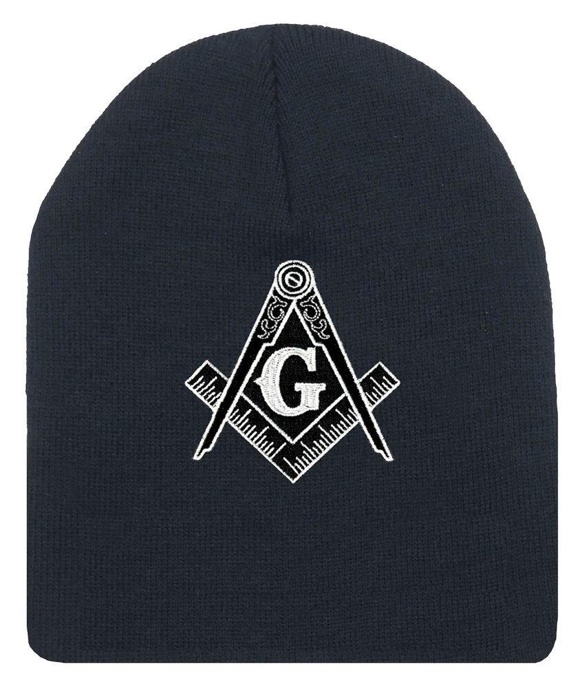 Masonic帽子冬 – ブラックビーニーキャップ – ブラックandホワイト標準Masonsシンボル。OneサイズFits Most Freemasons帽子。Masonic服、アパレル、Merchandise   B01MSCWXGL