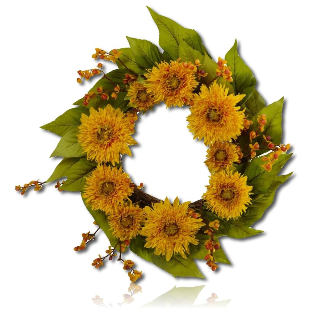 "Custom & Unique (22"" Inches) 1 Single Mid-Size Decorative Holiday Wreath for Door, Made of Polyester, Iron Wire, & Wood w/ Golden Branches, Sunflowers, & Leaves Style (Yellow, Orange, Green, & Brown)"