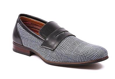 67bfc3703c5 Ferro Aldo Sidney MFA19371 Mens Casual Loafers Classic Vegan Leather Slip  On Driving Slippers Plaide Dress