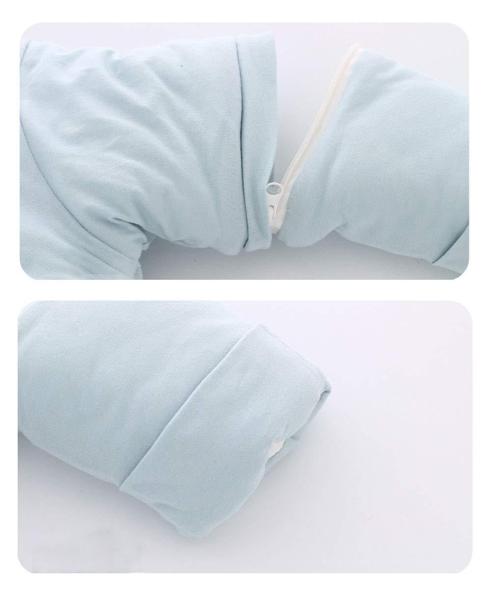 EsTong Unisex Baby Detachable Sleeves SleepSack Cartoon Whale Wearable Blanket Cotton Nest Nightgowns Sleeping Bag Blue 3.5Tog M