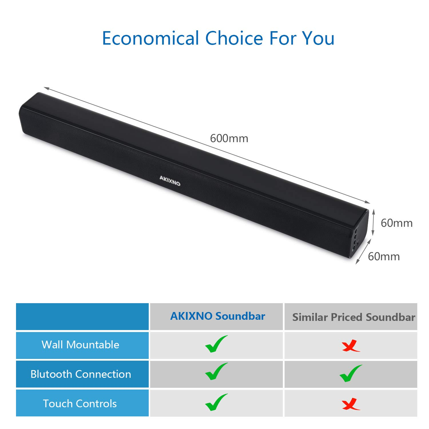 Soundbar, AKIXNO 3 EQ Mode 20W Home Theater Audio Speaker for TV, Wired & Wireless Bluetooth 4.0 Stereo Sound Bar, Optical/RCA/Line-in Connection, Wall Mountable, Remote Control - 24-Inch