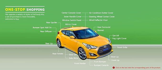 Funda de fibra de carbono para Hyundai Veloster Turbo luz antiniebla delantera (Turbo Sólo): Amazon.es: Coche y moto