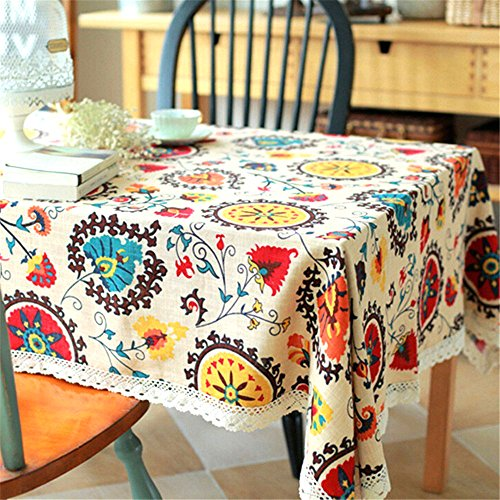 """Lahome Bohemian Sunflower Tablecloth - Cotton Linen Table Cover Kitchen Dining Room Restaurant Party Decoration (Rectangle - 55"""" x 86"""", Sunflower)"""