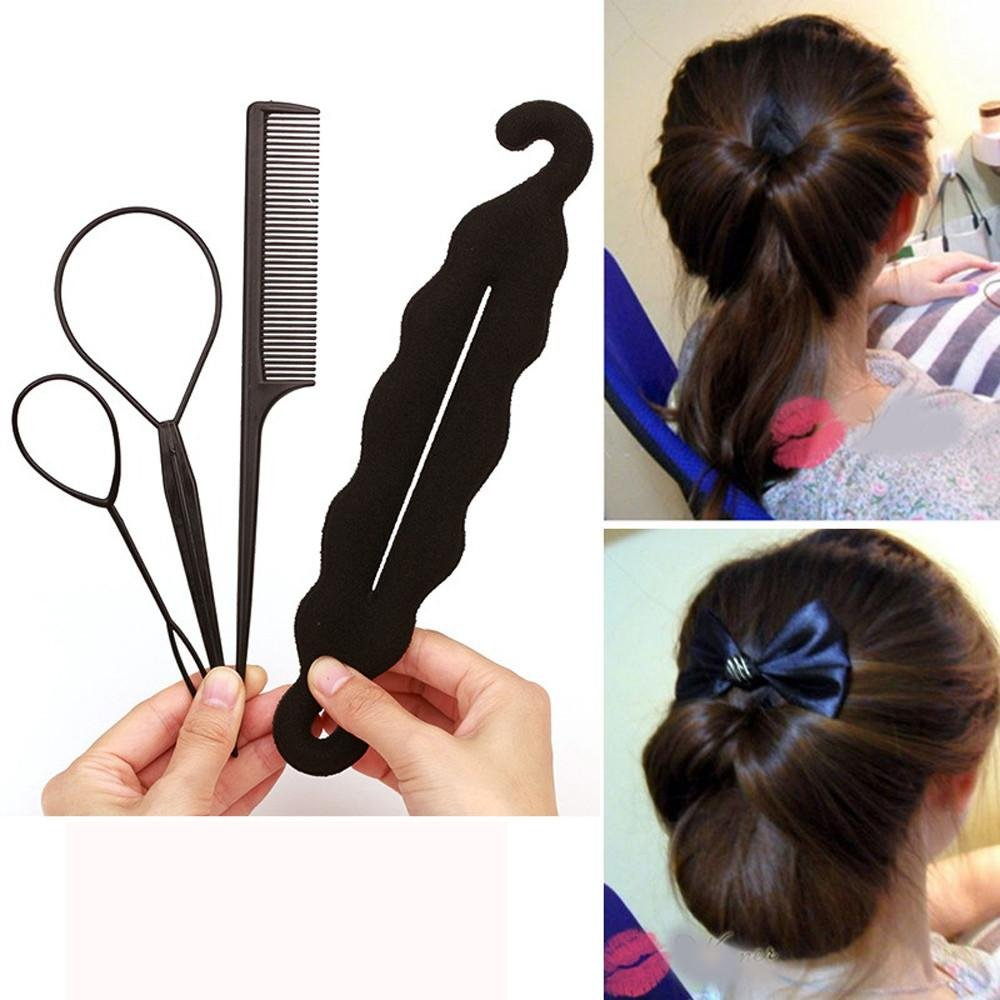 Chartsea 4pcs Ponytail Creator Plastic Loop Styling Tools Pony Tail Clip Hair Braid Maker Styling Tool Fashion Salon (Black)
