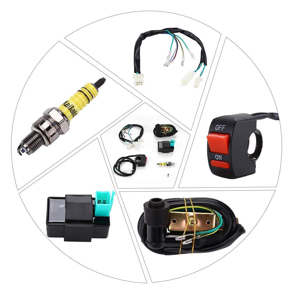 Wiring Harness Loom Kill Switch Coil CDI Spark Plug Kits For 110CC 125CC 140cc ATV Pit Bike