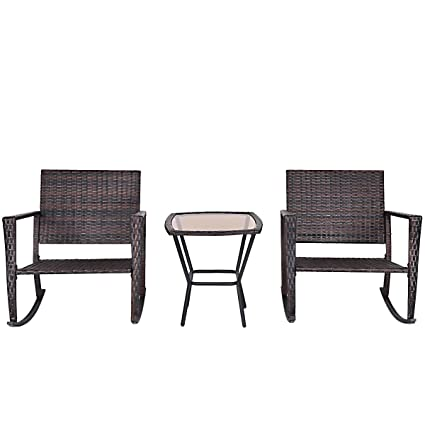 Amazon Com Fdinspiration 3pcs Classic Rattan Wicker Rocking Chair