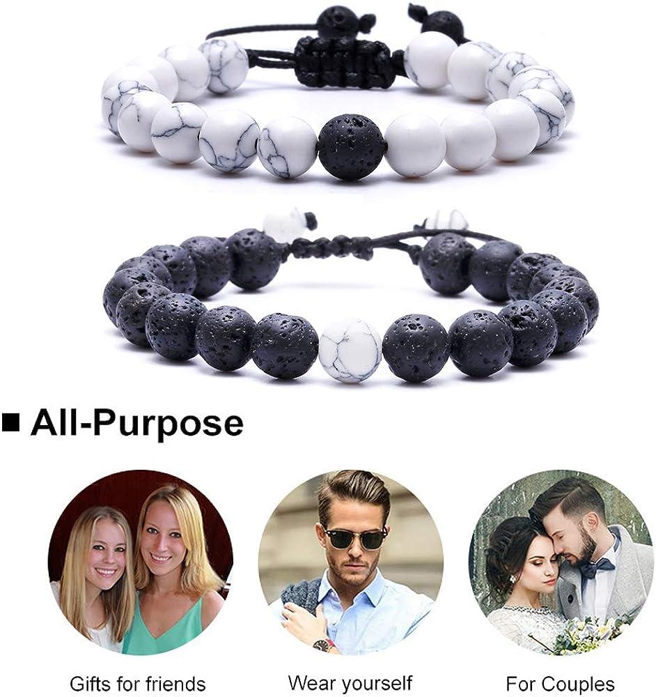HiRinK Howlite Bracelet Black Matte Agate Bracelet Couples Bracelet Distance Bracelet Lava Rock Energy Beads Bracelet Set