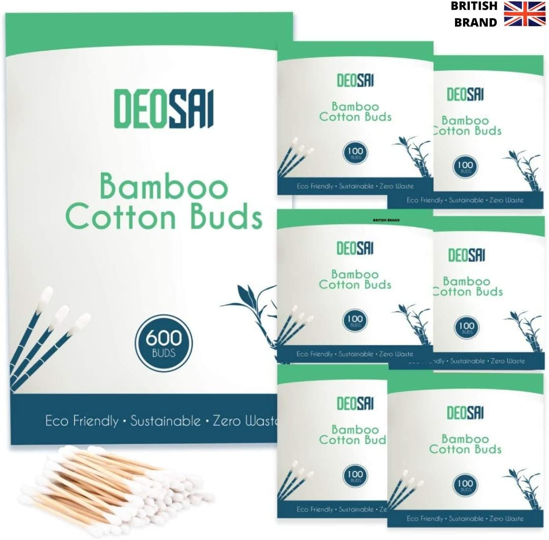 600 Premium Bamboo Cotton Buds Great Alternative to Plastic Cotton Buds//Q Tips//Swabs//Earbuds 100/% Biodegradable and Plastic Free Ear Buds Cotton