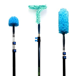 EVERSPROUT Duster 3-Pack with Extension-Pole (20+ Foot Reach) | Hand-packaged Cobweb Duster, Microfiber Feather Duster, Flexible Microfiber Ceiling & Fan Duster | Aluminum Telescopic Pole