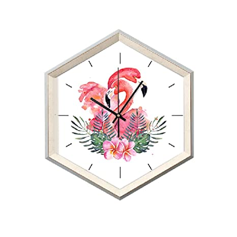 reloj de pared Estilo nórdico Rosa Patrón Flamenco Dormitorio Rosa hexágono Moda Creativa Mudo 19 Pulgadas